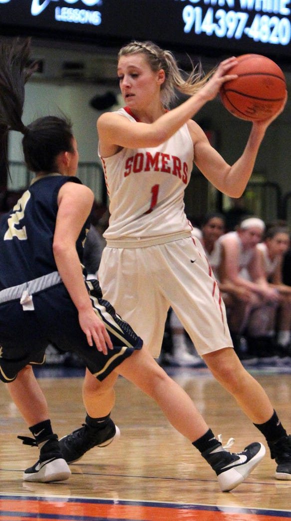 Somers' Jackie Penzo is guarded by Susquehanna's Holly