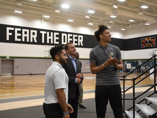 Power forward D.J. Wilson, the Bucks' first round pick in the 2017 draft, was on hand for the ceremony opening the new practice facility.