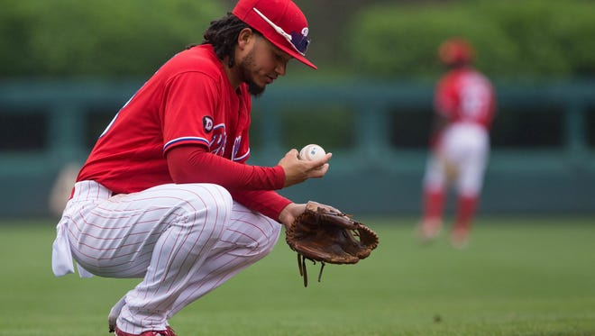 Philadelphia Phillies shortstop Freddy Galvis in a May 25 game against the Colorado Rockies at Citizens Bank Park.