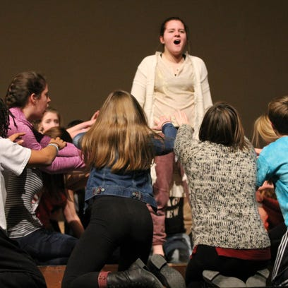 """Kaukauna High School students rehearse a scene from """"Aida,"""" which will open Thursday at the school."""
