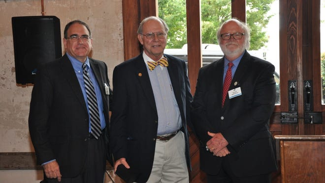 From left, AnMed Health CEO Bill Manson, AnMed Health Foundation Chairman Hugh Burgess, and Dr. John Hunt