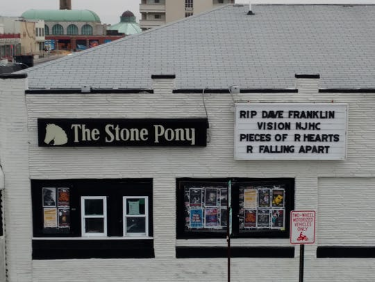 The marquee of the Stone Pony in Asbury Park pays tribute