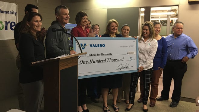 Valero Bill Greehey Refineries made a donation to Habitat for Humanity on Thursday Feb. 16, 2017.