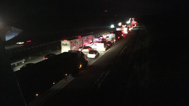 All three northbound lanes of Interstate 71 were closed Wednesday after a two-vehicle crash about 8 miles south of the Ohio 97 exit. This photo was shot from the Ohio 314 overpass.