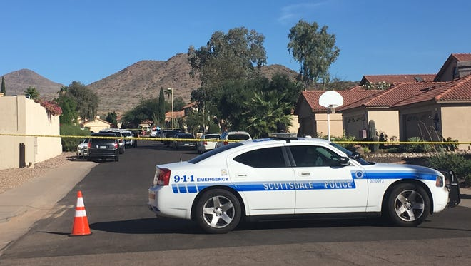"""Scottsdale police are investigating a shooting involving """"multiple subjects"""" near Thunderbird Road and Frank Lloyd Wright Boulevard on Nov. 10, 2017."""
