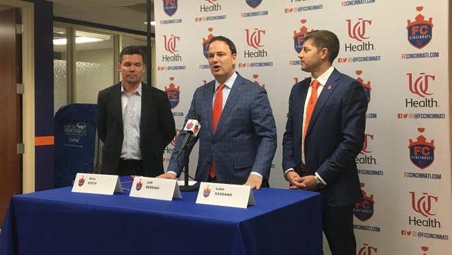 (Left to right) Alan Koch, Jeff Berding and Luke Sassano speak to the media as the latter is introduced as FC Cincinnati's technical director.