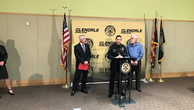 Glendale Police Chief Rick St. John (middle) announced that school resource officers would be stationed at all nine Glendale high schools in the wake of the Parkland, Florida shooting.