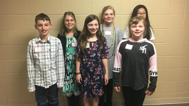 "Ripon students' writing skills earned them honors in Alpha Xi's Young Authors contest. Pictured, front row from left, are Jayden Hinton, ""The Aquatic Plan""; Lauren LaViolette, ""Snake's Big Adventure"";  Lily Mack, ""Tiger's Adventure""; and back row from left, Sienna Dahlvig, ""Stranded""; Bryn Carlson, ""The Camping Trip""; and Nicole Wang, ""The Time Traveling Rattlesnake."""