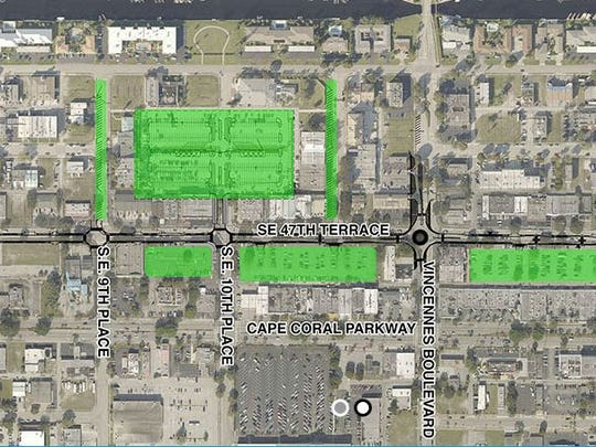 A map from the city shows parking available near the SE 47th Terrace streetscape construction.