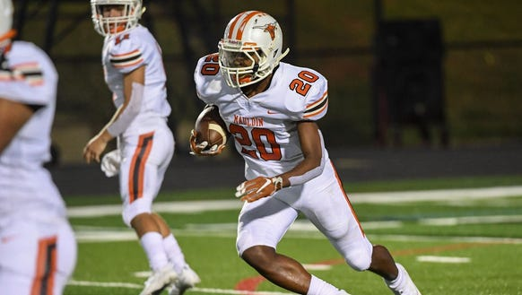 Sophomore running back Raekwon Fenderson (20) and the