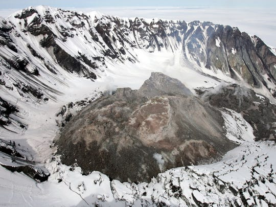 The new dome inside the crater of Mount St. Helens, Thursday, May 12, 2005.