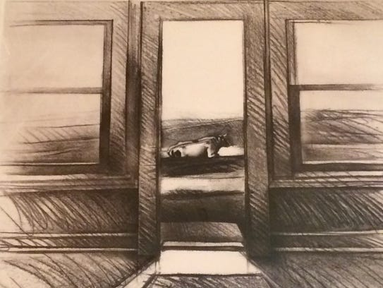 """Neighbor,"" etching by Sarah Frotscher"