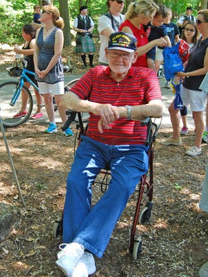 WWII Navy veteran Phil Smith attends Memorial Services held Saturday, May 28, 2016, at Rainbow Lakes, a community in Parsippany-Troy Hills Township.
