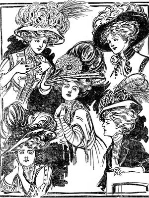 Illustrations of hat fashions from 1907