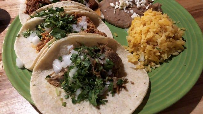 The taco dinner plate at ZaZa kitchen.