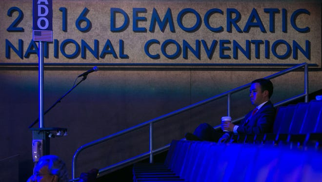 Crews ready the Wells Fargo Center in Philadelphia Monday for the Democratic National Convention. The four-day political event kicked off with speeches at 4 p.m.