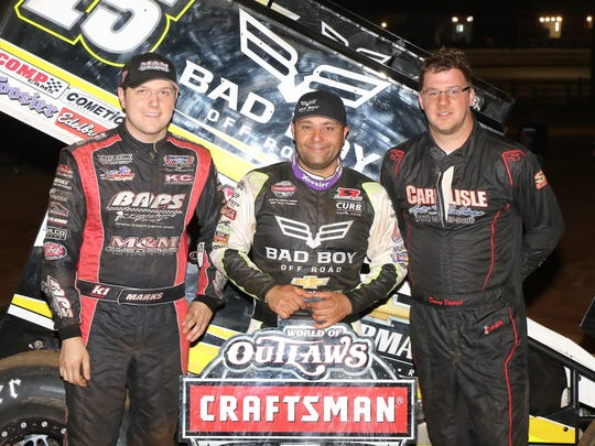 The top three finishers in the WoO Gettysburg Clash were winner Donny Schatz, center, Brent Marks of Lebanon (third), left, and Danny Dietrich (second).