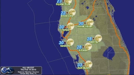 A Freeze warning has been issued from 1 to 9 a.m. Friday across South Florida as temperatures fall into the 30s.