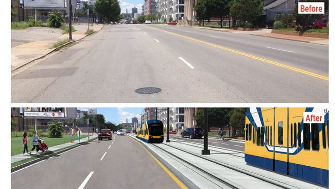 Before and after of what the Nashville Light Rail could look like on Gallatin Pike between 6th Street and 7th Street looking west.