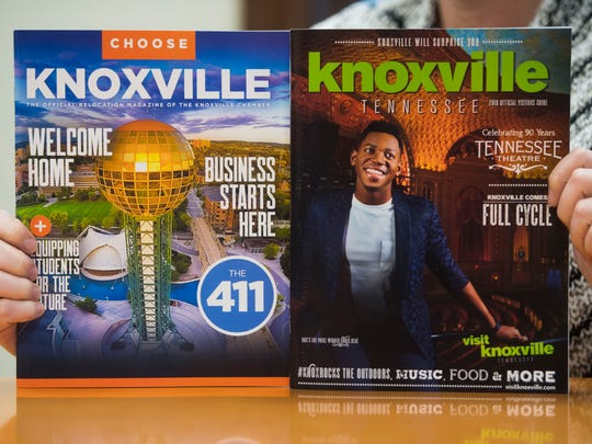 Visit Knoxville president Kim Bumpas holds the new