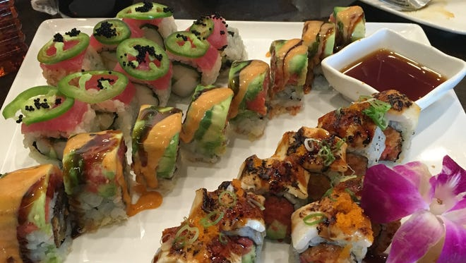 From left, the Jade Bunny, Mr. Miyagi Unagi and Marilyn Monroll sushi rolls at Wasabi in West Des Moines.
