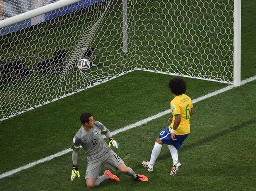 Brazil's Marcelo scoring own goal