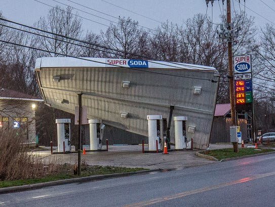 Winds caused heavy damage at the Super Soda Center