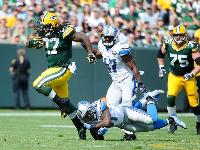Packers running back Eddie Lacy loses Lions defender