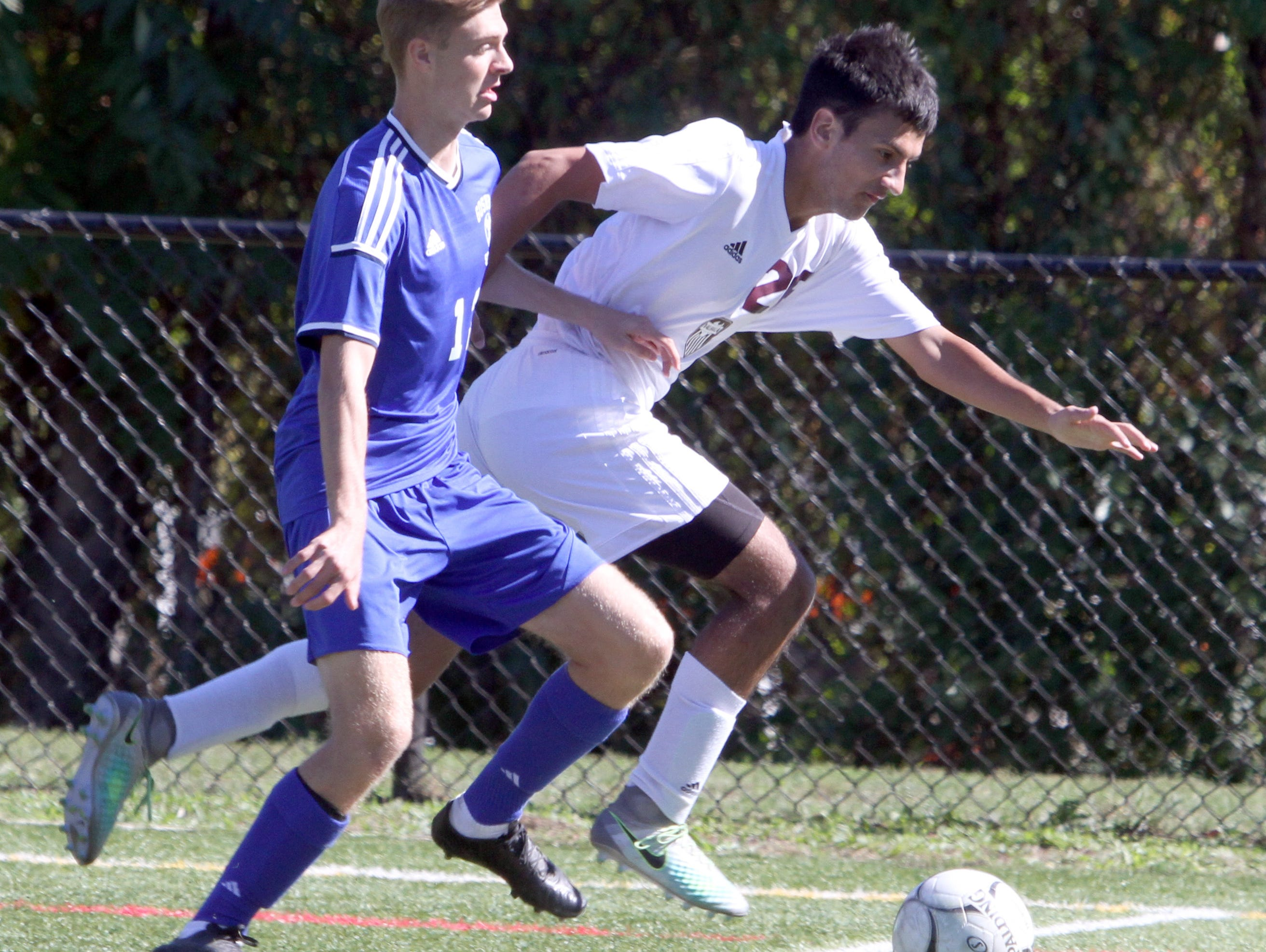 Goshen defeated Valhalla 1-0 in overtime during the Section 1 vs. Section 9 boys soccer challenge at Mamaroneck High School Oct. 10, 2016.