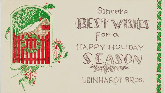 This 1938 holiday postcard from Leinhardt Bros. furniture