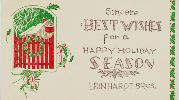 This 1938 holiday postcard from Leinhardt Bros. furniture came from the collection of Chris Otto, perhaps York County's most noted ephemerologist. Chris writes the great blog Papergreat at papergreat.com.
