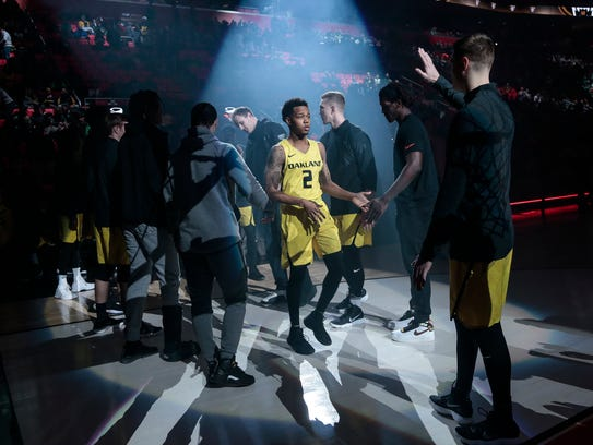 Oakland guard Nick Daniels is introduced during the