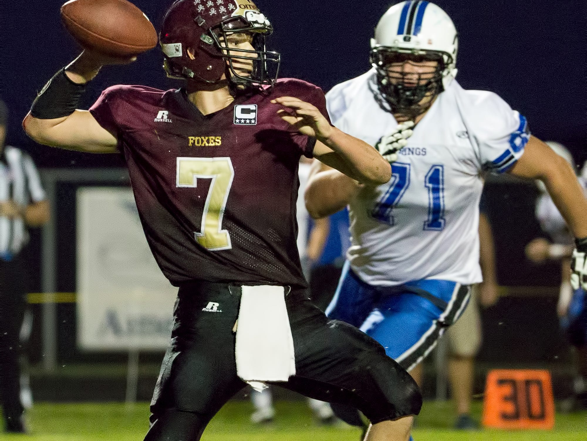 St. Mary's Springs junior Michael Buetow (71) was a unanimous first-team selection on both offense and defense on the all-Flyway Conference football teams.