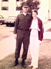 Phillip Benham poses with his mother Violette Benham in 1980 in San Diego. Phillip Benham was a Navy Seabee.