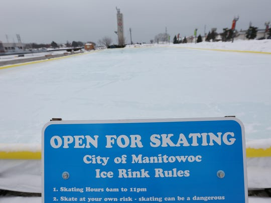 FILE - Manitowoc's downtown public ice skating rink.