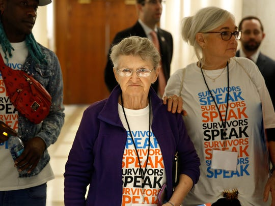 Agnes Furey remembers her daughter and grandson, who were murdered, during a vigil hosted by Crime Survivors for Safety and Justice at the Capitol.