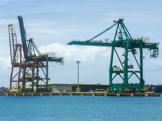 Gantry cranes at the Port Authority of Guam are shown in this Jan. 19 file photo.