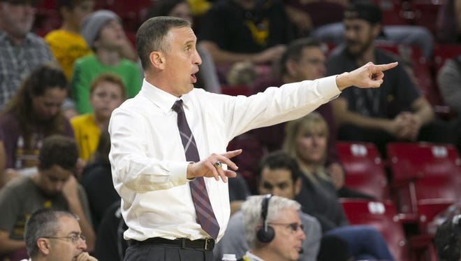 ASU head basketball coach Bobby Hurley shouts during the second half against Central Arkansas at Wells Fargo Arena in Tempe on Thursday, December 22, 2016. ASU won the game 98-62.