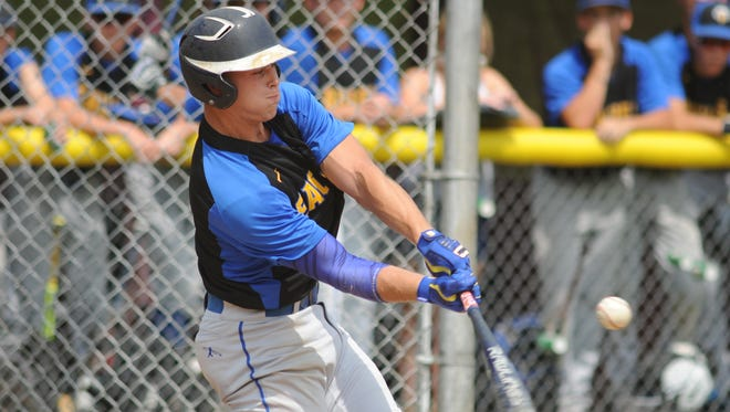 Pennsville's Max Dineen hits a single against Glassboro in the South Jersey Group 1 baseball final on Friday. 06.01.18.