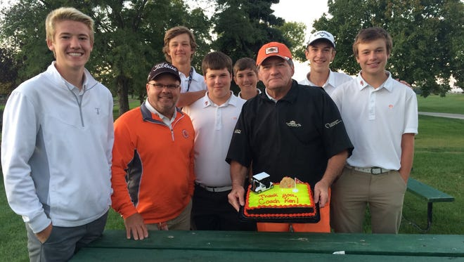 Members of the Washington golf team (L-R): Hank Eggebraaten, Doug Rinken, Devin Gilbertson, Lincoln Shafer, Sam Torbert, Ken Martens, Nathan Woodall and Will Grevlos. Martens, who was an assistant coach at Washington, passed away earlier this week.