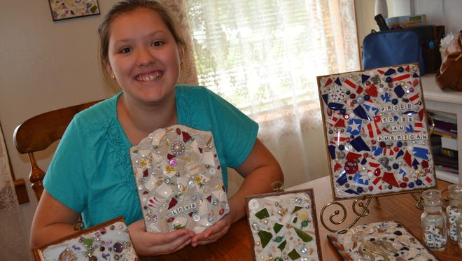 Grace Bolling, 14, was inspired to make mosaics by a broken serving dish that belonged to her great-grandmother.