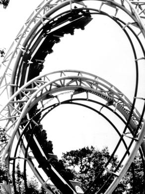 Undated: A shot of Lightning Loops at Great Adventure.