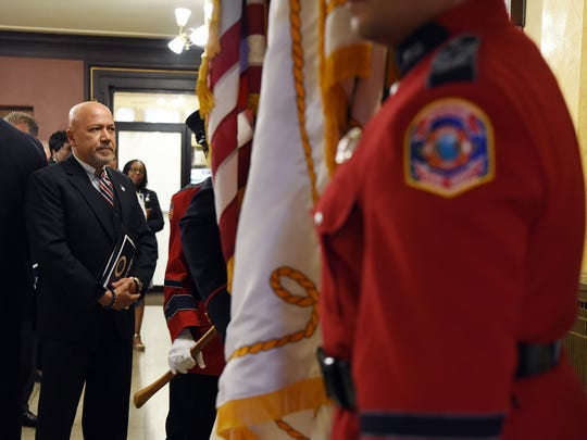 Paterson Mayor Joey Torres waits to enter the City Council chambers to deliver his State of the City address Tuesday.