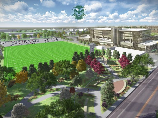 An artist's rendering of the new football practice facility being build next to CSU's on-campus stadium.