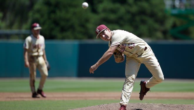 Florida State starter Drew Parrish delivers a pitch during the Seminoles 5-3 victory over Pacific at Dick Howser Stadium on Sunday.