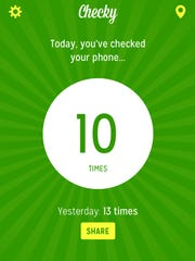 A screenshot of Checky, which monitors how many times a day you check your phone.