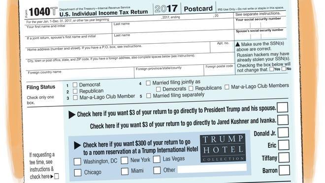 Prototype of IRS Form 1040Trump Postcard