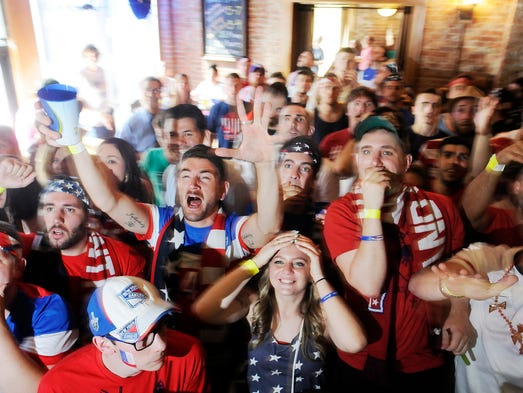 United States Men's National Soccer Team fans cheer on their team at Union Square on Tuesday in the City of Poughkeepsie. @DBatPoJo