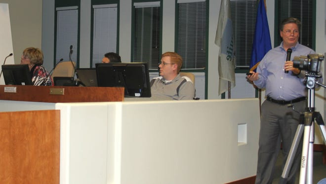 Virgin Valley Water District General Manager addressed the public at a joint city council and VVWD meeting Tuesday.
