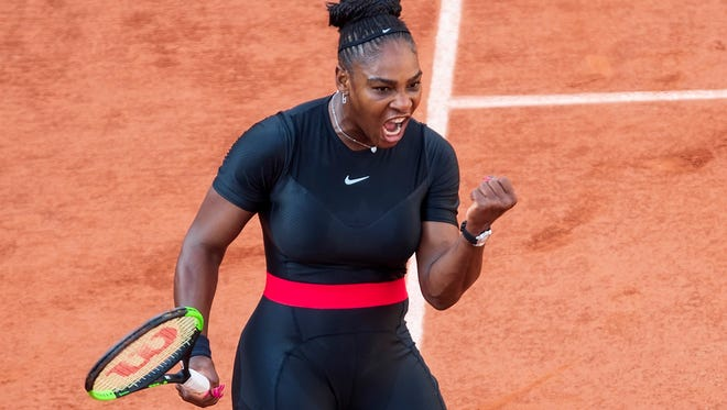 Serena Williams reacts  during her match against Julia Goerges.